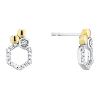 Two Tone 1/10ct Diamond Honeycomb Stud Earrings - Product number 4278569