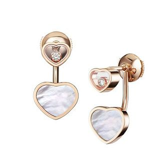 Chopard Happy Hearts 18ct Rose Gold & Diamond Stud Earrings - Product number 4278801