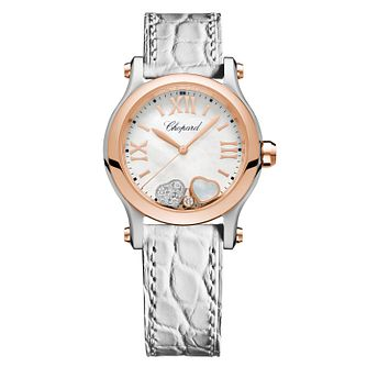 Chopard Happy Sport Ladies' White Leather Strap Watch - Product number 4278917
