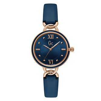 Gc CableTwist Ladies' Blue Leather Strap Watch - Product number 4280571