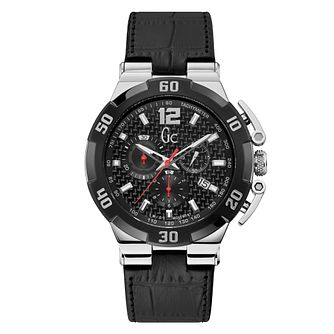 Gc Men's Chronograph Black Leather Strap Watch - Product number 4280849