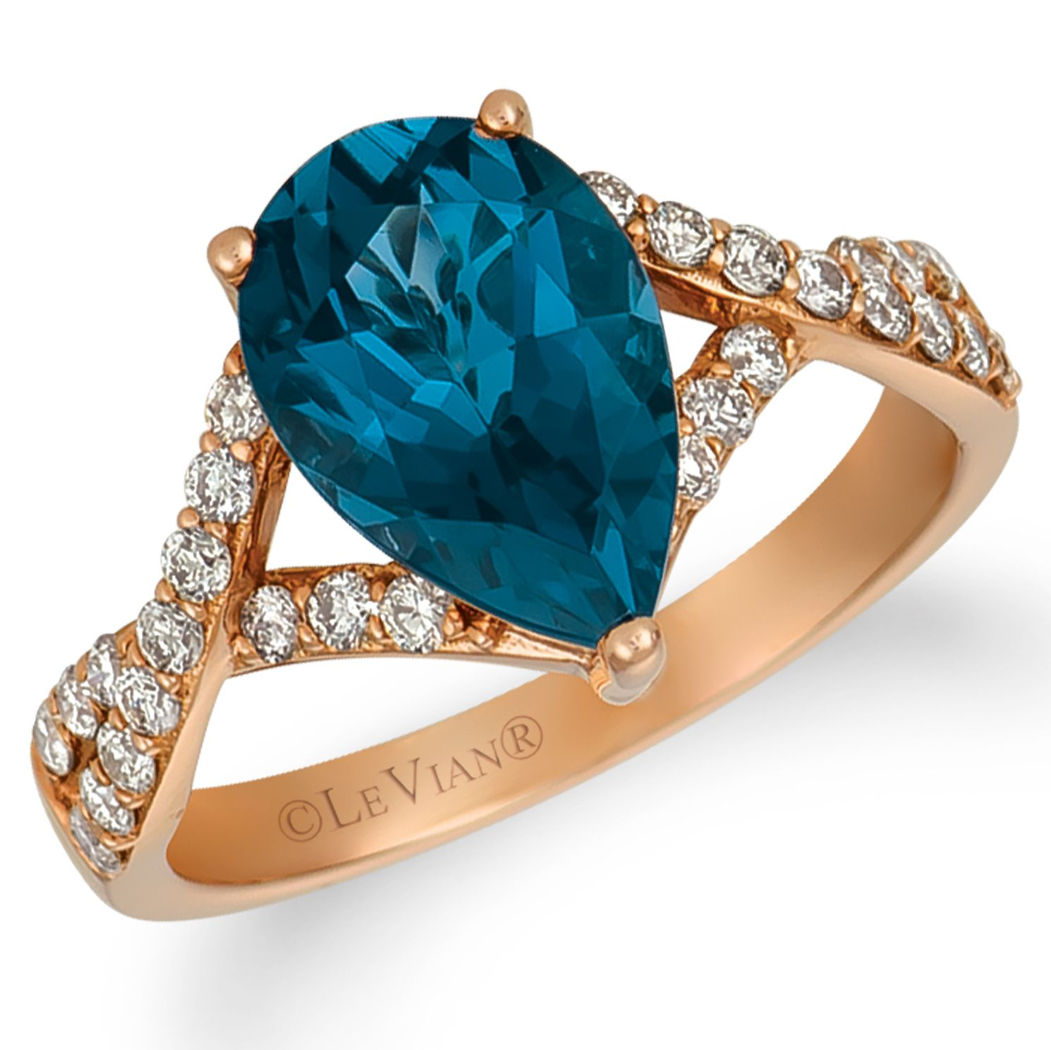 Le Vian 14ct Strawberry Gold Blue Topaz & Nude Diamond Ring - Product number 4283775