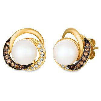 Le Vian 14ct Honey Gold Pearl & Chocolate Diamond Earrings - Product number 4284623