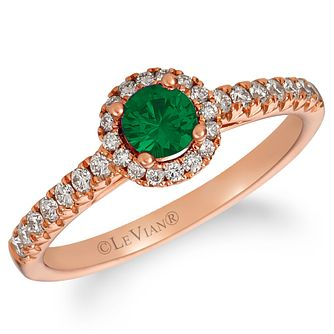 Le Vian 14ct Strawberry Gold Emerald & Nude Diamond Ring - Product number 4289145
