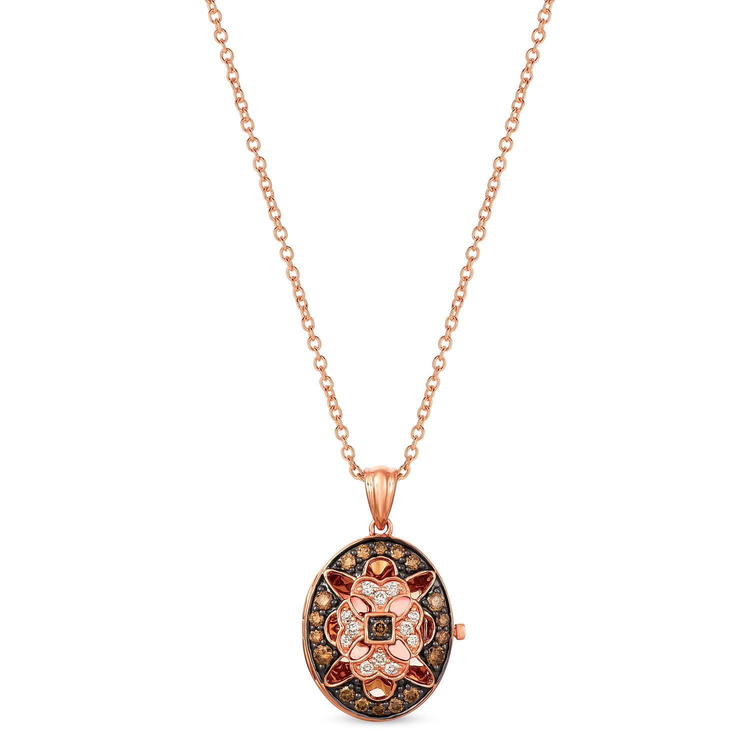 Le Vian 14ct Strawberry Gold Chocolate Diamond Oval Locket - Product number 4289285