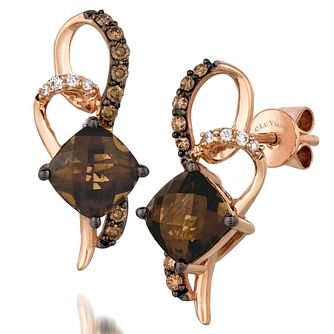 Le Vian 14ct Strawberry Gold Quartz & Diamond Drop Earrings - Product number 4289420