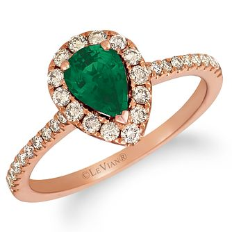Le Vian 14ct Strawberry Gold Emerald & 0.37ct Diamond Ring - Product number 4289587