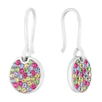 Evoke Rhodium Plated Multicolour Crystal Disc Drop Earrings - Product number 4289900