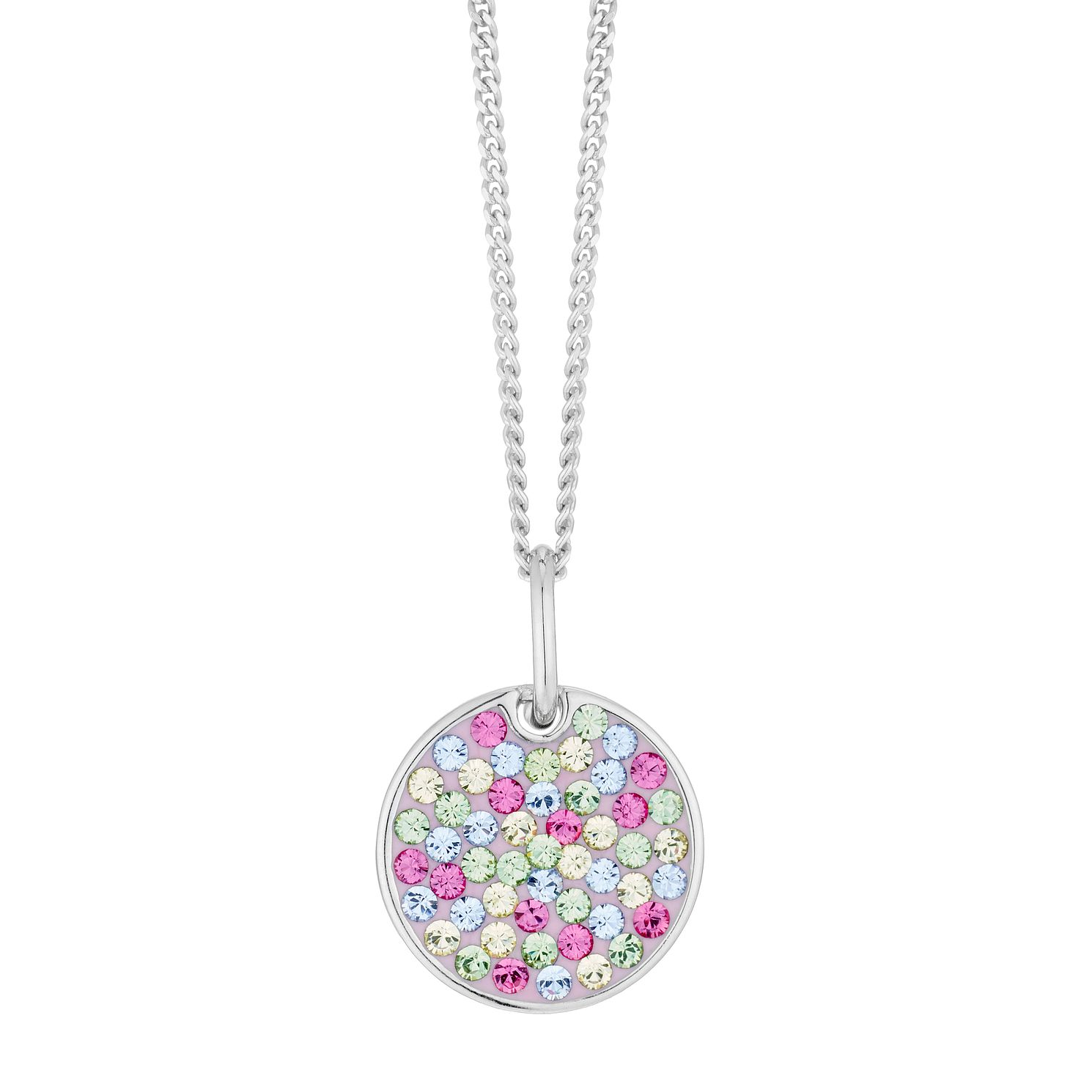Evoke Rhodium Plated Multicolour Crystal Disc Pendant - Product number 4289919