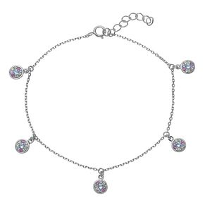 Evoke Rhodium Plated Multicolour Crystal Disc Necklace - Product number 4347056