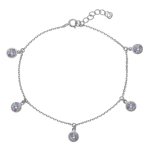 Evoke Rhodium Plated Multicolour Crystal Disc Bracelet - Product number 4289935