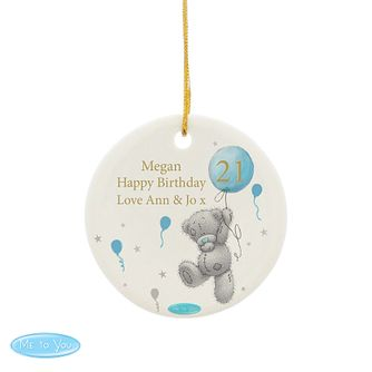 Personalised Me To You Blue Balloons Ceramic Ornament - Product number 4290844