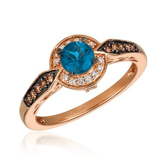 Le Vian 14ct Strawberry Gold Blue Topaz& 0.18ct Diamond Ring - Product number 4292162