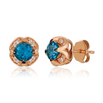 Le Vian 14ct Strawberry Gold Deep Sea Blue Topaz Earrings - Product number 4292294