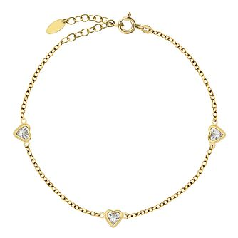 Bodifine Yellow Gold Plated Heart Cubic Zirconia Anklet - Product number 4297822