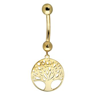 Bodifine 9ct Yellow Gold Tree of Life Design Belly Bar - Product number 4297970