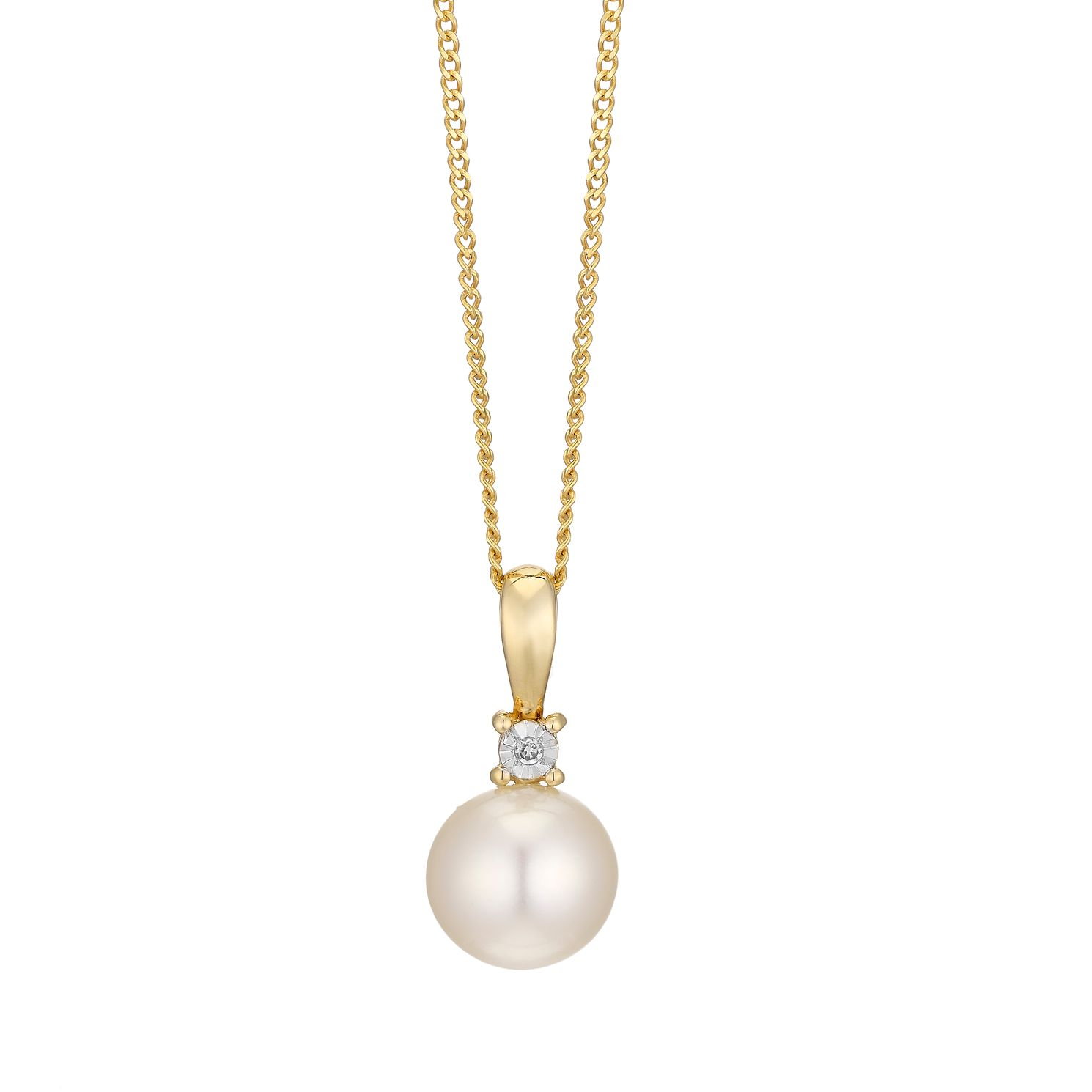 9ct Yellow Gold Cultured Freshwater Pearl & Diamond Pendant - Product number 4297997