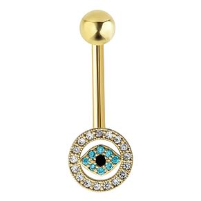 Bodifine 9ct Yellow Gold Evil Eye Cubic Zirconia Belly Bar - Product number 4298020