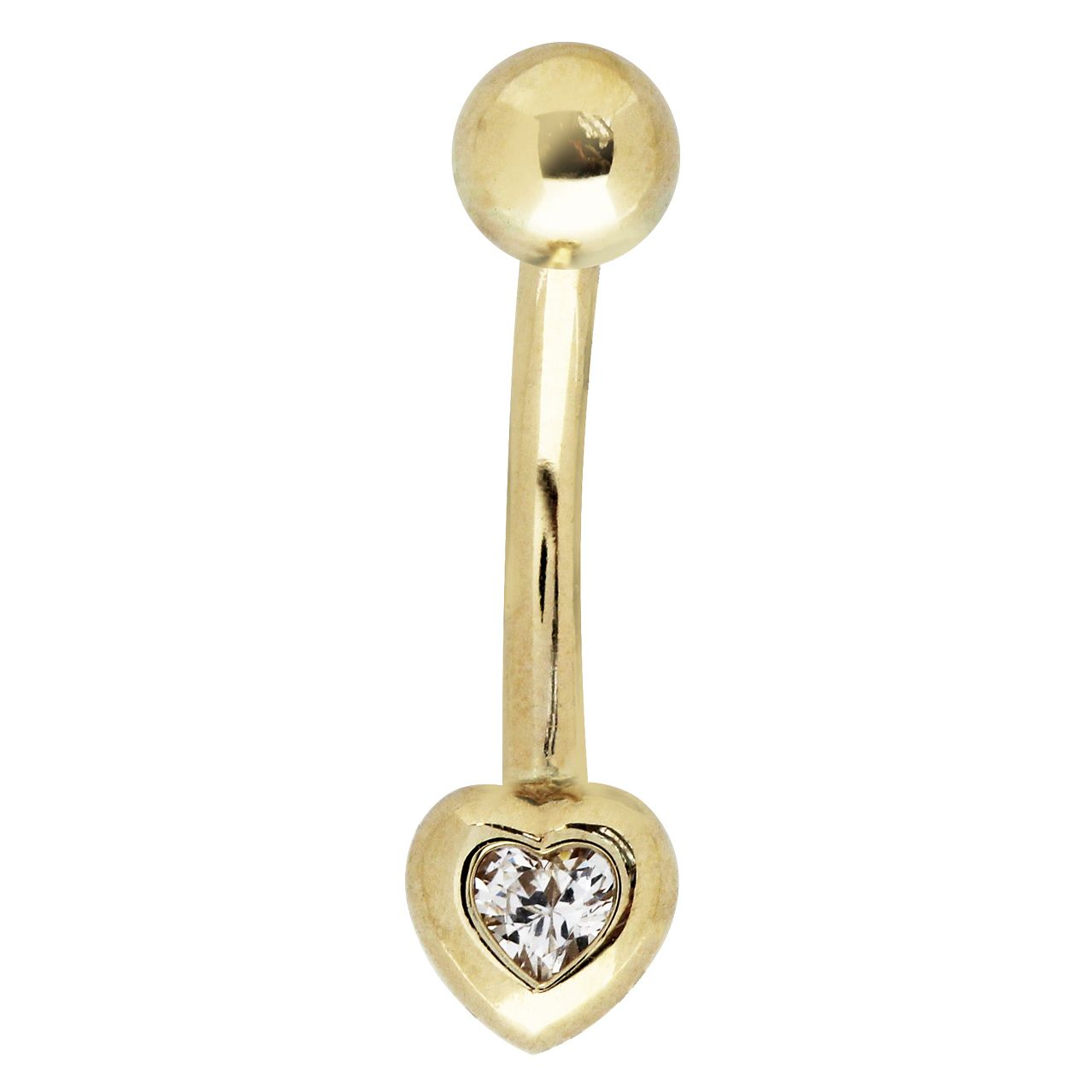Bodifine 9ct Yellow Gold Heart Cubic Zirconia Belly Bar - Product number 4298098