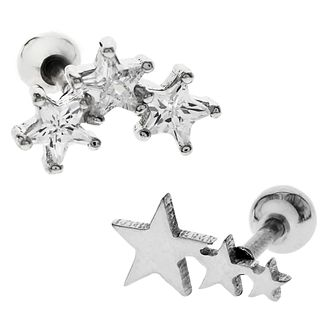 Bodifine Stainless Steel Stars Ear Tragus Bar Set - Product number 4298195