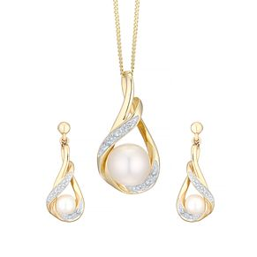 9ct White Gold Cultured Freshwater Pearl Diamond Set - Product number 1007386