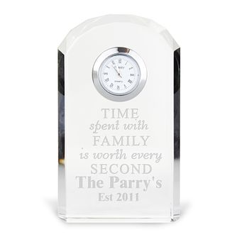 "Engraved ""Time Spent With Family"" Crystal Clock - Product number 4298454"