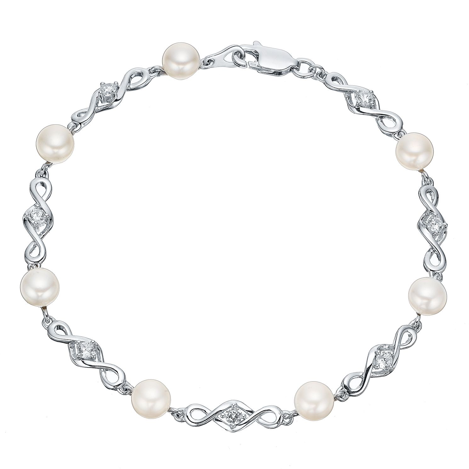 Silver Cultured Freshwater Pearl Cubic Zirconia Bracelet - Product number 4299078