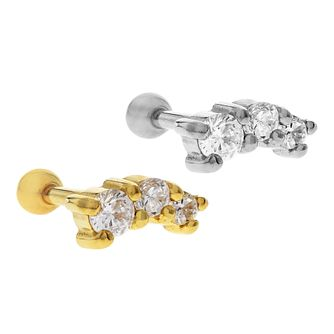 Bodifine Stainless Steel Crystal Ear Tragus Bar Set - Product number 4299191