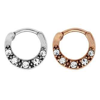 Bodifine Stainless Steel Crystal Ear Cartilage Ring Set - Product number 4299264