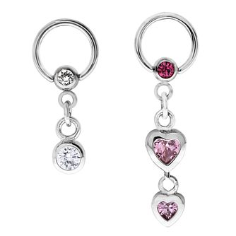 Bodifine Stainless Steel Crystal Heart Ear Cartilage Set - Product number 4299272