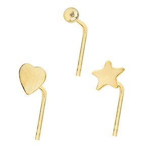 Bodifine 9ct Yellow Gold Nose Studs Set of 3 - Product number 4299442