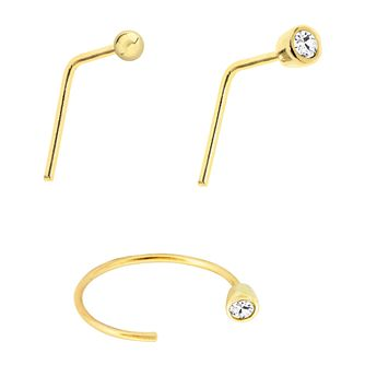 Bodifine 9ct Yellow Gold Cubic Zirconia Nose Studs Set of 3 - Product number 4299507