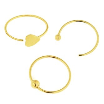 Bodifine 9ct Yellow Gold Nose Studs Set of 3 - Product number 4299558