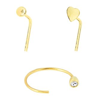 Bodifine 9ct Yellow Gold Nose Stud & Hoop Set of 3 - Product number 4299698
