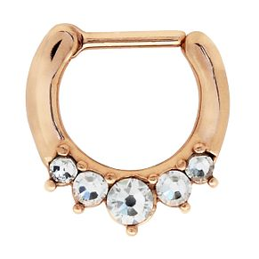 Bodifine Rose Gold Plated Crystal Nose Septum Ring - Product number 4300335