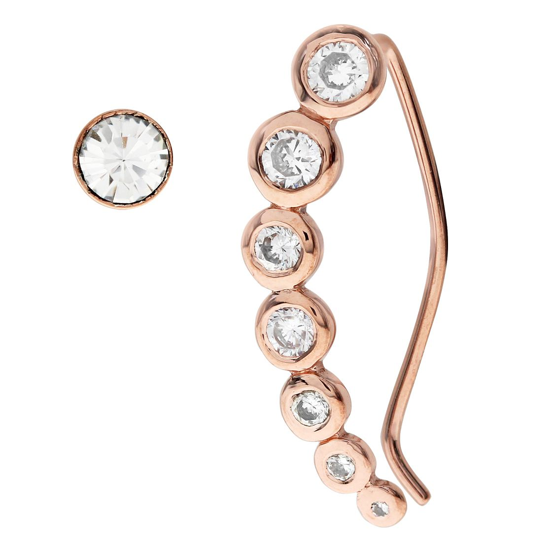 Bodifine Rose Gold Plated Ear Climber & Stud Set - Product number 4300459
