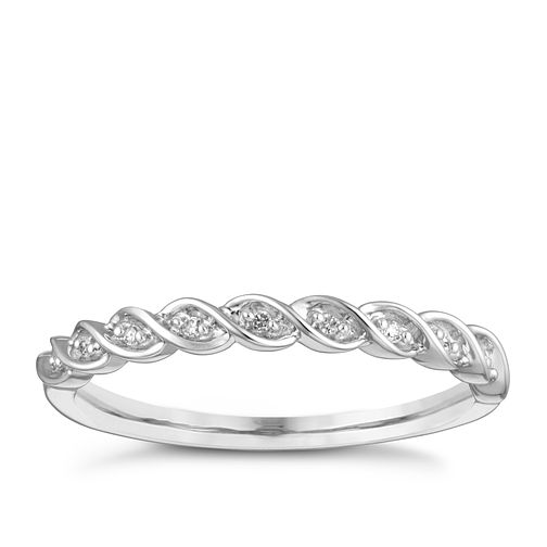 9ct White Gold Diamond Twist Wedding Ring - Product number 4301943