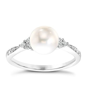 9ct White Gold Cultured Freshwater Pearl 0.11ct Diamond Ring - Product number 4302699