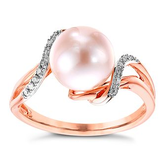 13d709e73 9ct Rose Gold Cultured Freshwater Pearl & Diamond Ring - Product number  4303563