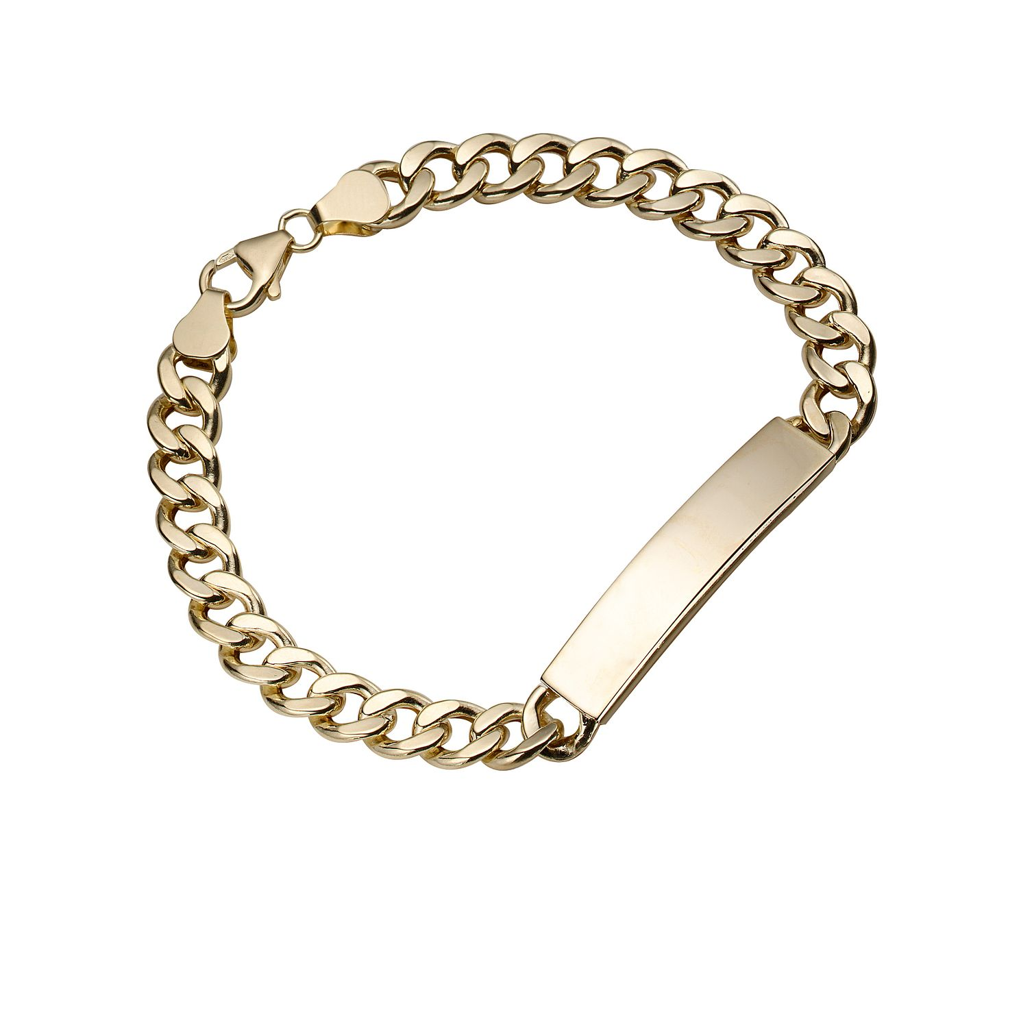 9ct Yellow Gold 8.25 Inch Curb Chain ID Bracelet - Product number 4305159