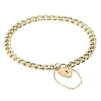 9ct Gold Curb Charm Bracelet With Heart Locket Charm - Product number 4305167
