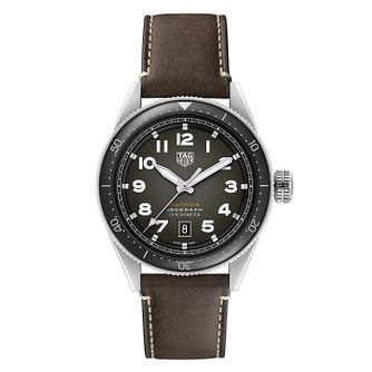 TAG Heuer Autavia Isograph Black Leather Strap Watch - Product number 4306996