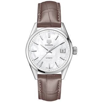 TAG Heuer Carrera Ladies' Taupe Leather Strap Watch - Product number 4307259