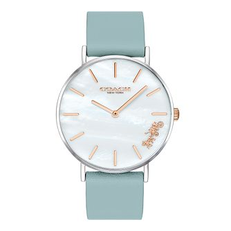 Coach Perry Ladies' Blue Leather Strap Watch - Product number 4311302