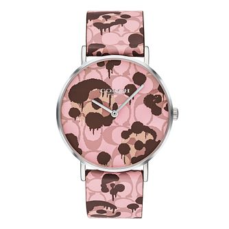 Coach Perry Ladies' Pink Printed Leather Strap Watch - Product number 4311329