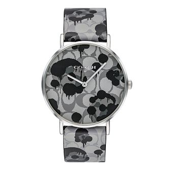 Coach Perry Ladies' Grey Printed Leather Strap Watch - Product number 4311337