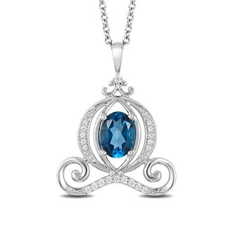 Enchanted Disney Silver Diamond & Topaz Carriage Pendant - Product number 4311892