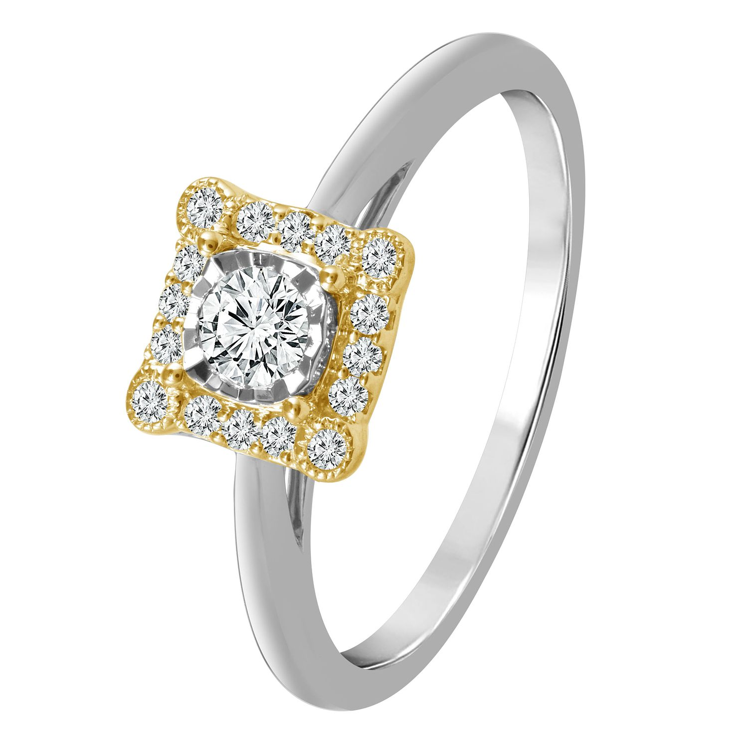 9ct White & Yellow Gold 1/4ct Diamond Halo Ring - Product number 4321367