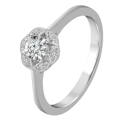 9ct White Gold 0.12ct Diamond Halo Ring - Product number 4321901