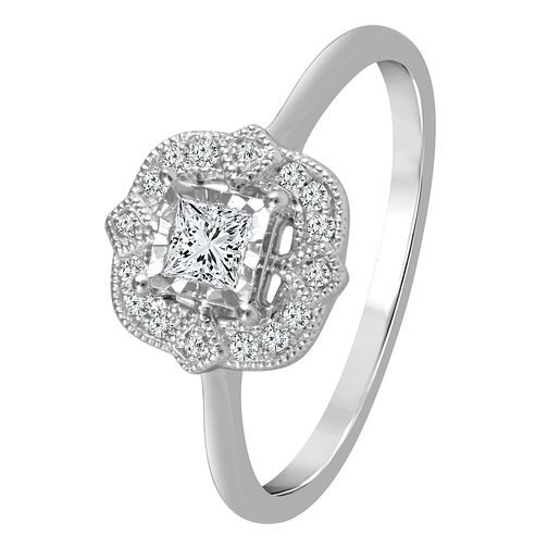 9ct White Gold 1/4ct Diamond Square Halo Ring - Product number 4322134